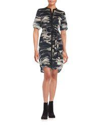 DKNY | Black Marbled Shirtdress | Lyst