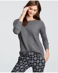 Ann Taylor - Gray Petite Textured Cashmere Sweater - Lyst