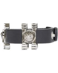 Versus - Black And Silver Leather Medallion Bracelet - Lyst
