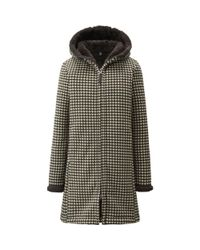 Uniqlo - Black Women Fluffy Fleece Long Sleeve Printed Coat - Lyst