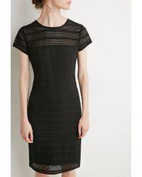 Forever 21 | Black Shadow Stripe Cap-sleeve Dress | Lyst