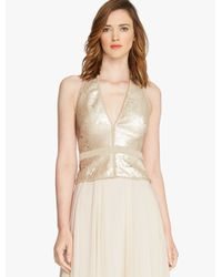 Halston | Metallic Bi Colored Sequined Halter Top | Lyst