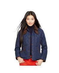 Polo Ralph Lauren | Blue Suede-trim Quilted Jacket | Lyst