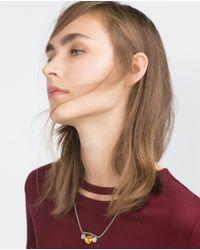 Zara | Red T-shirt With Necklace Neckline | Lyst
