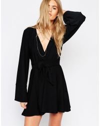 ASOS | Black Kimono Wrap Dress With Tie Waist | Lyst