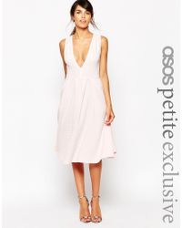 ASOS - Pink Petite Exclusive Midi Dress In Texture With Plunge Neck - Lyst
