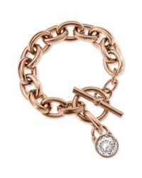 Michael Kors - Metallic Rose Goldtone Crystal Padlock Charm Bracelet - Lyst