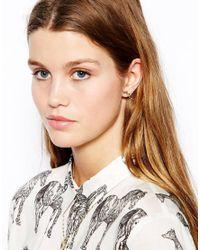 ASOS - Metallic Leaf Vine Stud Earrings - Lyst