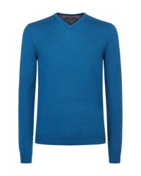 Ted Baker - Blue Inko Cashmere-blend V-neck Jumper for Men - Lyst