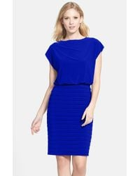 Adrianna Papell | Blue Pleated Jersey Blouson Dress | Lyst