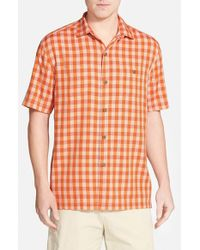 Tommy Bahama | Orange 'bring 'em Gingham' Original Fit Silk Camp Shirt for Men | Lyst