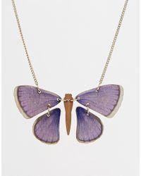 Tatty Devine - Blue Butterfly Necklace - Lyst