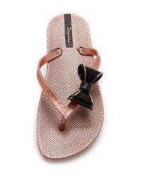 Ipanema - Metallic Neo Clara Bow Flip Flops - Rose Gold/Black - Lyst