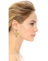 Kenneth Jay Lane - Metallic Cross Earrings Gold - Lyst