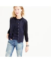 J.Crew - Blue Petite Lace Panel Cardigan Sweater - Lyst