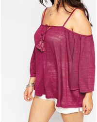 ASOS | Purple 70's Swing Top With Cold Shoulder And Tassels | Lyst