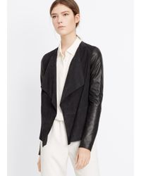 Vince - Black Suede Blocked Drape Front Jacket - Lyst