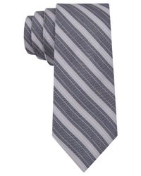 Calvin Klein - Metallic Taupe Classic Bar Stripe Skinny Tie for Men - Lyst