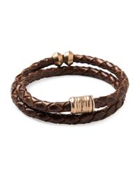 Miansai - Brown Woven Leather Bracelet With Brass Casing for Men - Lyst