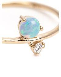 Wwake | Metallic Diamond And Opal Ring | Lyst