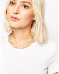ASOS | Metallic Stationed Faux Pearl Bar Necklace | Lyst