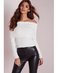 Missguided | Bardot Ribbed Jumper White | Lyst