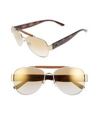 Tory Burch - Metallic 58mm Aviator Sunglasses - Lyst