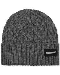 Sean John - Gray Cuffed Cable-Knit Beanie for Men - Lyst
