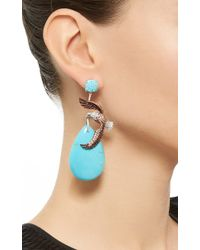 Lydia Courteille - Blue One Of A Kind Eagle Earrings - Lyst