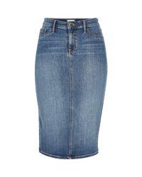 River Island | Blue Mid Wash Denim Midi Skirt | Lyst