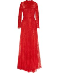Valentino - Embroidered Lace Gown - Lyst