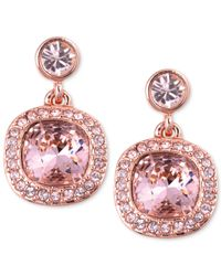 Givenchy | Rose Gold-tone Swarovski Light Pink Stone Drop Earrings | Lyst