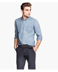 H&M | Blue Chambray Shirt for Men | Lyst