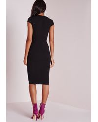 Missguided | Crepe Cap Sleeve Midi Dress Black | Lyst