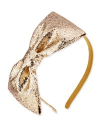kate spade new york - Metallic Girls' Glittered Large Bow Headband - Lyst