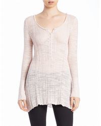 Free People | Pink Ribbed Cotton-blend Henley | Lyst