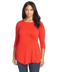 Vince Camuto | Red Side Pleat Asymmetrical Top | Lyst