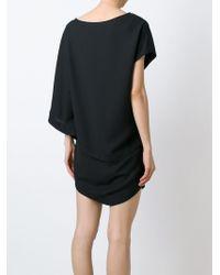 Jay Ahr | Black Asymmetric-Sleeved Silk-Blend Dress | Lyst