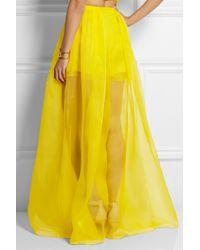 Delpozo - Yellow Silk-organza Wide-leg Pants - Lyst