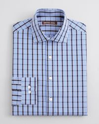 Michael Kors | Blue Plaid Dress Shirt Regular Fit for Men | Lyst