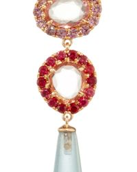"""Shawn Ames - Multicolor One-Of-A-Kind """"Signature Sucre"""" Pink Sapphires, Red Sapphires And Aquamarine Earrings - Lyst"""