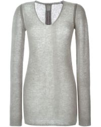 Rick Owens - Gray V-neck Sweater - Lyst
