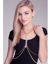Bebe - Metallic Crystal Body Chain - Lyst