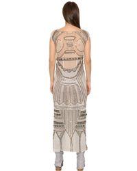 Trussardi - Natural Embellished Cotton Mesh Dress - Lyst