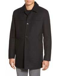 Vince Camuto | Black Melton Car Coat With Plaid Scarf for Men | Lyst
