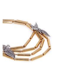 Lulu Frost | Metallic 'aviary' Stone Pavé Phoenix Charm Necklace | Lyst