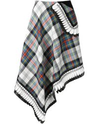 Danielle Romeril - White Asymmetric Plaid Skirt - Lyst