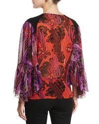 Roberto Cavalli - Purple Silk Georgette Ruffle-sleeve Surplice Top - Lyst