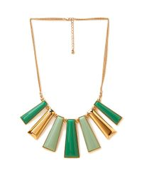 Forever 21 Green Geo Bib Necklace