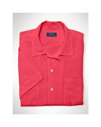 Polo Ralph Lauren | Pink Linen-silk Short-sleeved Shirt for Men | Lyst